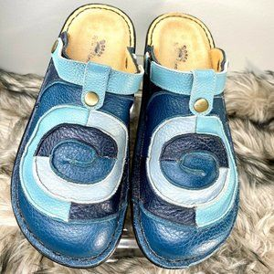 Spring Step Womens Blue Leather Clogs Shoes 11